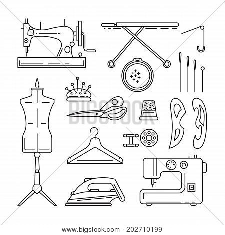Sewing icons outline vector set. Outline tools and equipment for dressmaker and needlework. Linear vector atelier symbols. Tailor instruments tools kit.