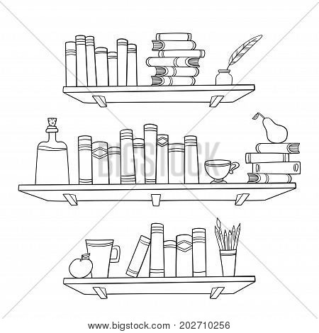 Books and other things on the shelves. Vector illustration. Graphic objects for decorations, background, textures or interior wallpaper.