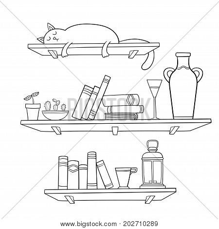 Books, cat and other things on the shelves. Vector illustration. Graphic objects for decorations, background, textures or interior wallpaper.