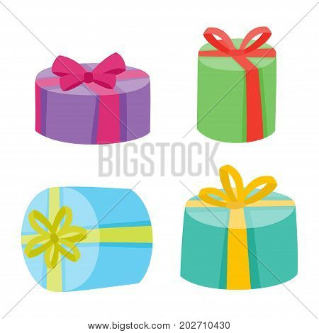 Christmas or birthday presents collection. Vector illustration of cartoon gifts in bag isolated on white