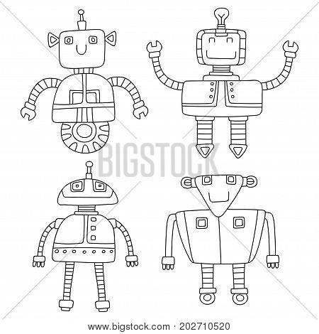 Set of different cute robots. Vector illustration.