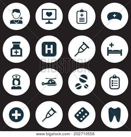 Antibiotic Icons Set. Collection Of Cure, Remedy, Analyzes And Other Elements