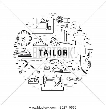 Round banner on the theme of tailoring consisting of icons of equipment tailor. Vector illustration isolated on white background outline