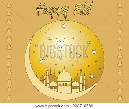 an illustration of a middle eastern greeting card with mosque and moon in gold
