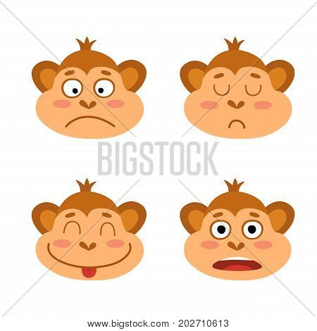 Vector set with monkey emotion faces. Cute little monkeys isolated on white