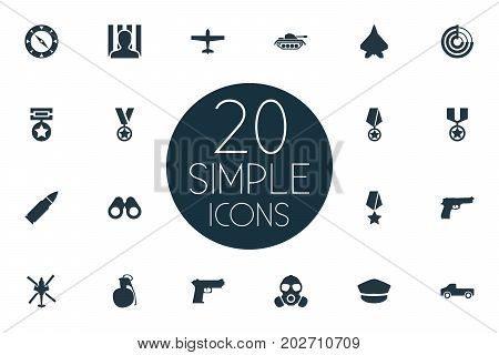 Elements Jailer, Pickup, Gas Mask And Other Synonyms Grenade, Gas And Transport.  Vector Illustration Set Of Simple Conflict Icons.