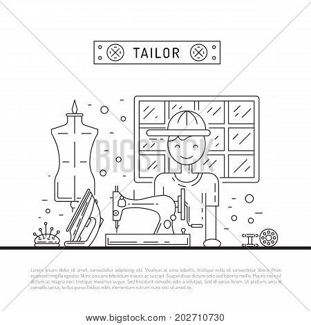 The tailor man is engaged in tailoring mens suits in his workshop, vector illustration in a linear style. Desk dressmaker with a sewing machine.