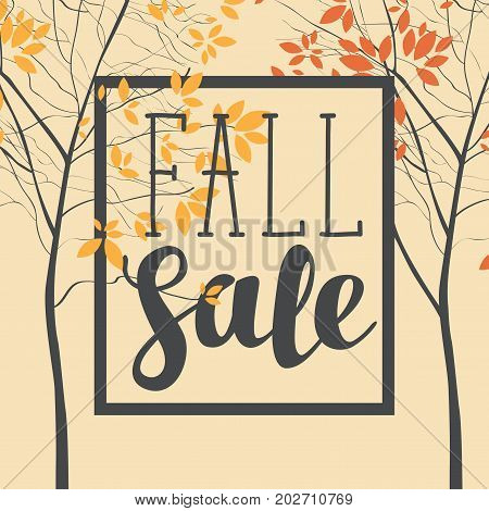Vector banner with the words Fall sale. Autumn landscape with autumn leaves on the branches of trees in a Park or forest. Can be used for flyers banners or posters.