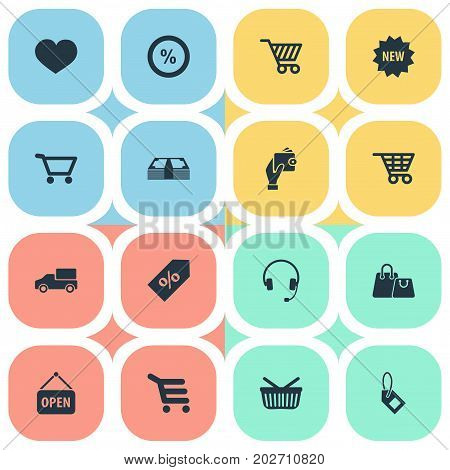 Elements Sack, Label, Cash And Other Synonyms Sale, Heart And Care.  Vector Illustration Set Of Simple Sale Icons.
