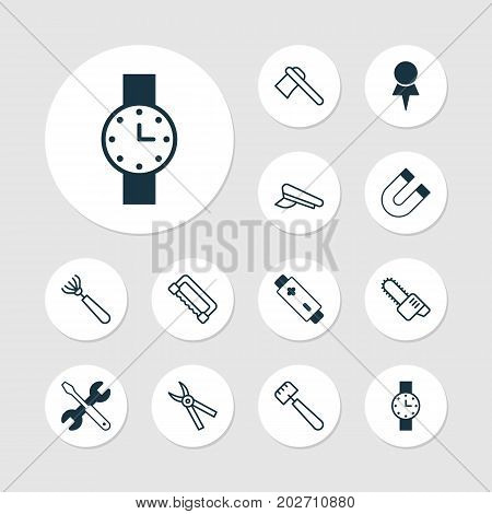 Instrument Icons Set. Collection Of Attraction, Spatula, Timer And Other Elements