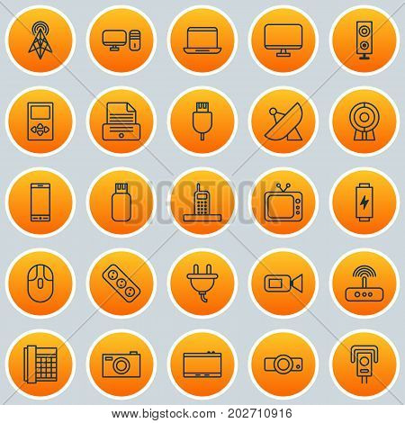 Icons Set. Collection Of Television, Broadcast, Personal Computer And Other Elements