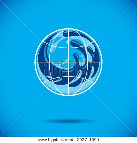 Global water circulation vector logotype for use in spa and resort organizations. Environment conservation concept.