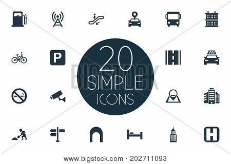 Elements Supervision, Cab, Escalator And Other Synonyms Autobus, Staircase And Manufacture.  Vector Illustration Set Of Simple Infrastructure Icons.