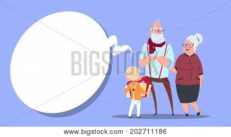 Happy Grandparents Couple With Grandson Giving Present Box Modern Grandfather And Grandmother And Small Boy Flat Vector Illustration