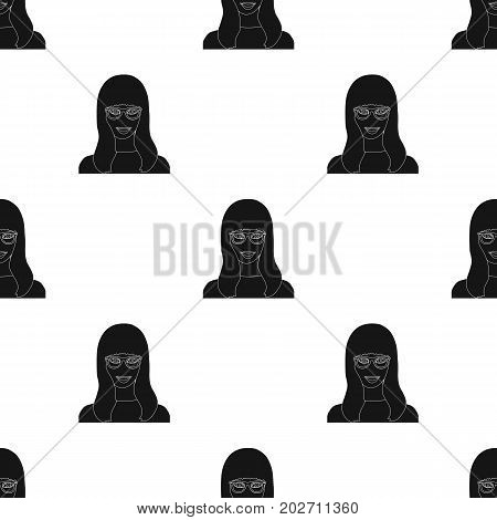 The girl's face is wearing glasses. Face and appearance single icon in black style vector symbol stock illustration .
