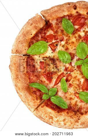 Half of Freshly Baked Margherita Pizza with Tomatoes Cheese and Basil Leafs isolated on White background