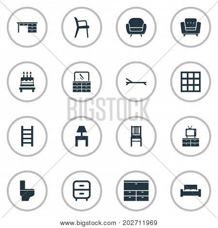 Elements Bathroom, Cabinet, Stairway And Other Synonyms Design, Beach And Chest.  Vector Illustration Set Of Simple Furniture Icons.