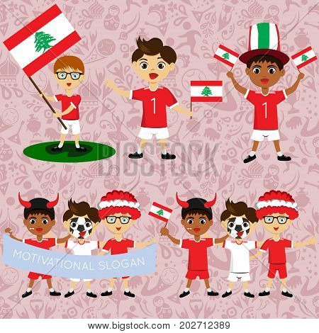 Set of boys with national flags of Lebanon. Blanks for the day of the flag independence nation day and other public holidays. The guys in sports form with the attributes of the football team