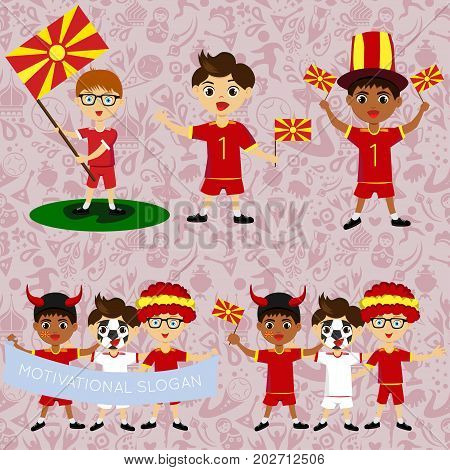 Set of boys with national flags of Macedonia. Blanks for the day of the flag independence nation day and other public holidays. The guys in sports form with the attributes of the football team