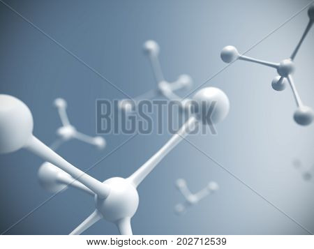 White molecule structure over blue background. Model of simplicity particle. 3D rendering.