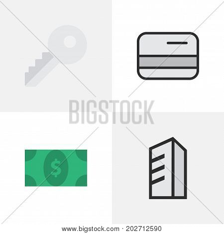 Elements Greenback, Pay, Apartment And Other Synonyms Open, Pay And Key.  Vector Illustration Set Of Simple Business Icons.