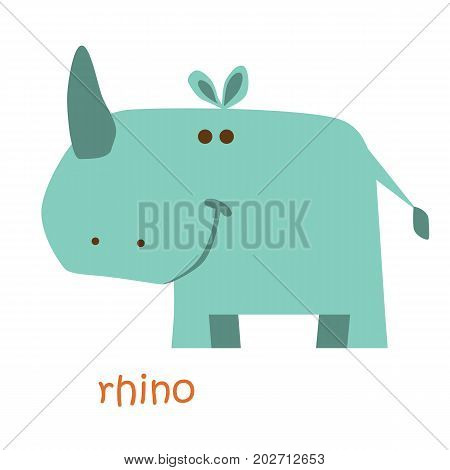 Rhino isolated. Drawing rhinoceros for a child