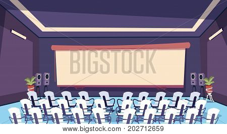 Conference Room Modern Business Center Empty Office Building Working Space Meeting Hall Interior Flat Vector Illustration