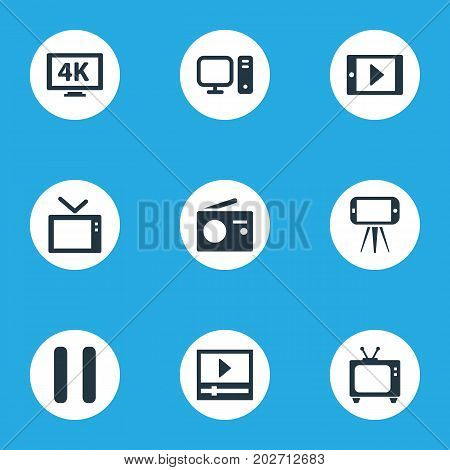 Elements Broadcast, Cellphone, Telly And Other Synonyms 4K, PC And Cellphone.  Vector Illustration Set Of Simple Media Icons.
