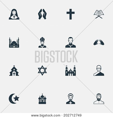 Elements Chapel, Priestess, Jewish Clergy And Other Synonyms Pontiff, Praying And Muslim.  Vector Illustration Set Of Simple Religion Icons.