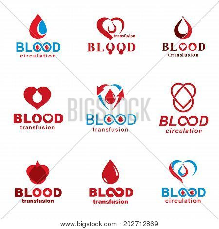 Vector illustrations created on blood donation theme blood transfusion and circulation metaphor. Rehabilitation conceptual vector logotypes for use in pharmacology.