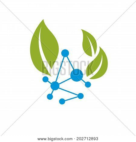 Vector illustration of green leaves and molecule mesh structure. Alternative medicine concept phytotherapy metaphor .The interconnection of chemical analysis and homeopathy.