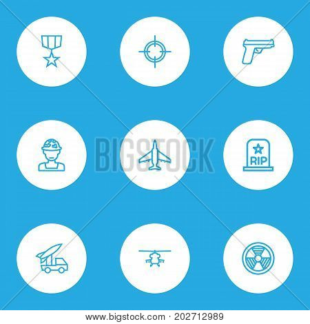 Warfare Outline Icons Set. Collection Of Weapon, Military, Rip And Other Elements