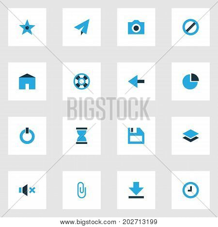 User Colorful Icons Set. Collection Of Photo, Button, House And Other Elements