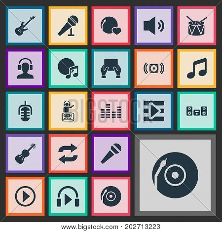 Elements Turntable, Shellac, Start And Other Synonyms Tablet, Karaoke And Guitar.  Vector Illustration Set Of Simple Melody Icons.