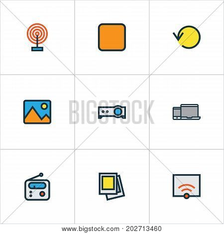 Music Colorful Outline Icons Set. Collection Of Signal, Cast, Presentation And Other Elements
