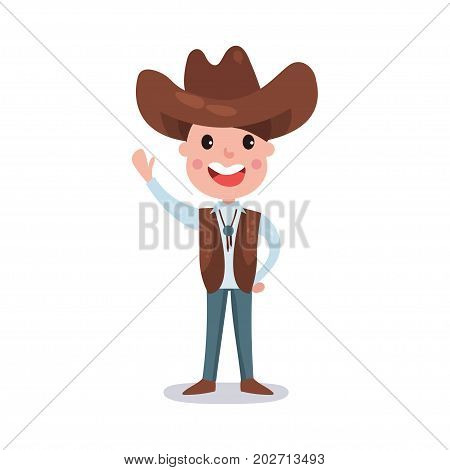 Little boy wearing cowboy costume American traditional clothes colorful vector Illustration on a white background