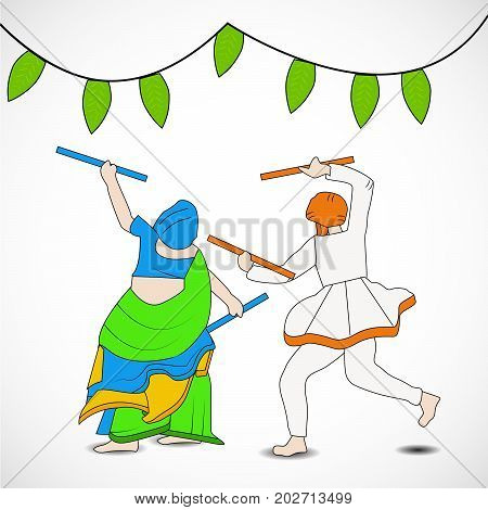 illustration of people doing dandiya dance with decoration on the occasion of hindu festival Navratri
