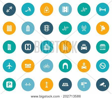 Elements Location, Polyclinic, Forbidden And Other Synonyms Road, Stoplight And Home.  Vector Illustration Set Of Simple Urban Icons.