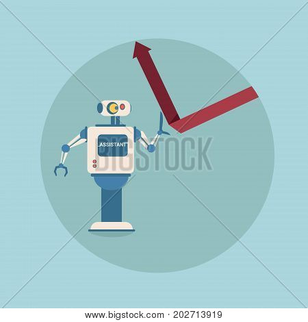 Modern Robot Holding Financial Arrow Up Finance Protection Concept Futuristic Artificial Intelligence Mechanism Technology Flat Vector Illustration