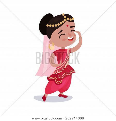 Little girl wearing sari dress national costume of India colorful vector Illustration on a white background