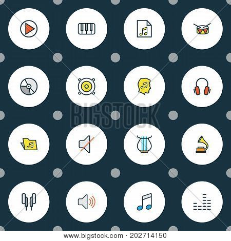 Audio Colorful Outline Icons Set. Collection Of Headphones, List, Earphones And Other Elements