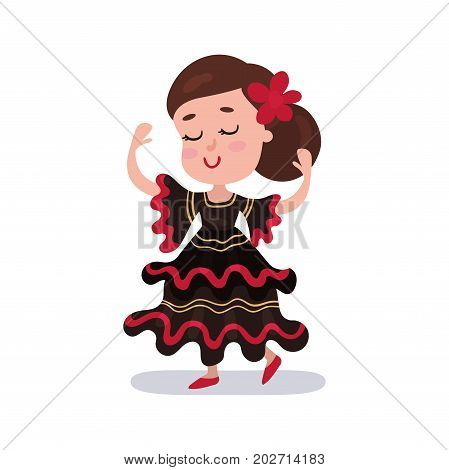 Little girl wearing red and black dress, national costume of Spain country colorful vector Illustration on a white background