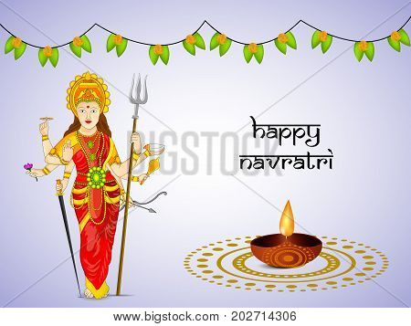 illustration of Hindu Goddess Durga, lamp and decoration with Happy Navratri text on the occasion of hindu festival Navratri