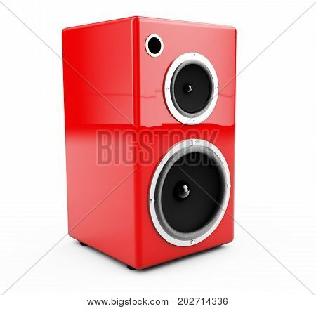 Red columns on a white background 3d render
