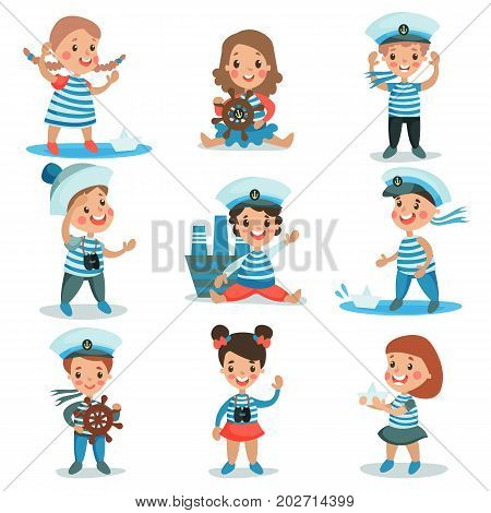 Cute little kids in sailors costumes playing and dreaming of sailing set of colorful vector Illustrations on a white background