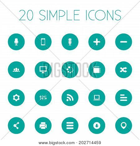Elements Karaoke, Publish, Printer And Other Synonyms Navigation, Company And Education.  Vector Illustration Set Of Simple Design Icons.