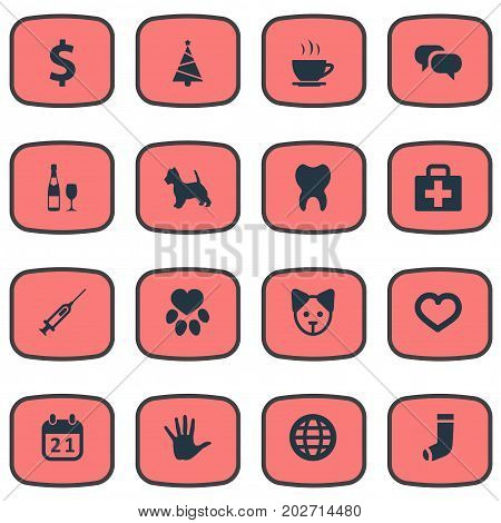 Elements Love, Hosiery, Case And Other Synonyms Holiday, Volunteer And Cure.  Vector Illustration Set Of Simple Brood Icons.