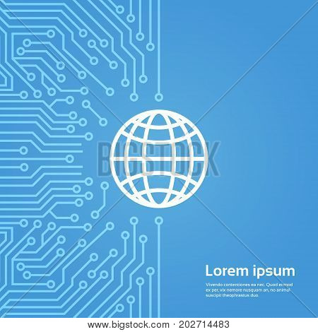 Earth Globe Icon Over Computer Chip Motherboard Background Banner Vector Illustration