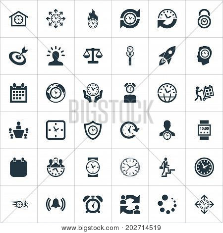 Elements Hurry, Manager, Chronometer And Other Synonyms Trolley, Ladder And Waiting.  Vector Illustration Set Of Simple Management Icons.