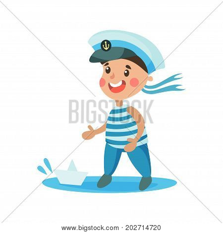 Cute little boy in sailors costume playing with paper boat, kid dreaming of becoming a sailor vector Illustration on a white background